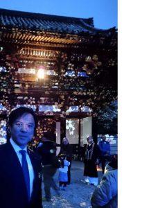 ▲落慶祭でマッピングされた桜門
