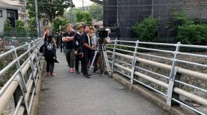 ▲撮影の様子(錦水橋にて)
