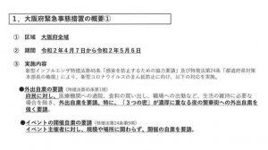 ▲大阪府緊急事態措置の概要①