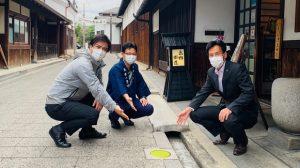 ▲「天野酒」蔵元の西條陽三氏と島田智明市長と