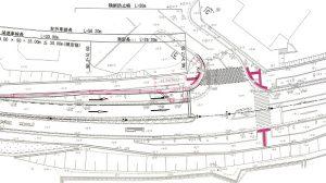 ▲改良される高向南交差点の図面